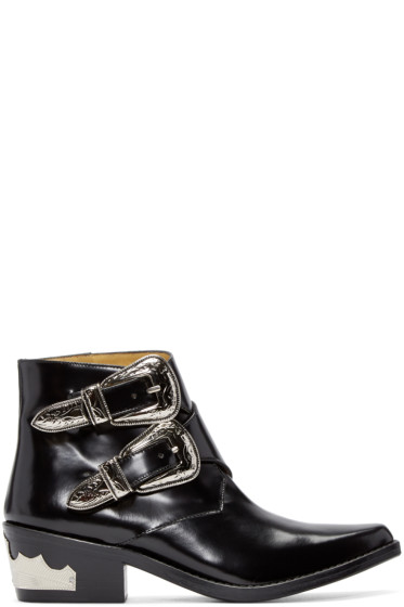 Toga Pulla - Black Western Buckle Boots