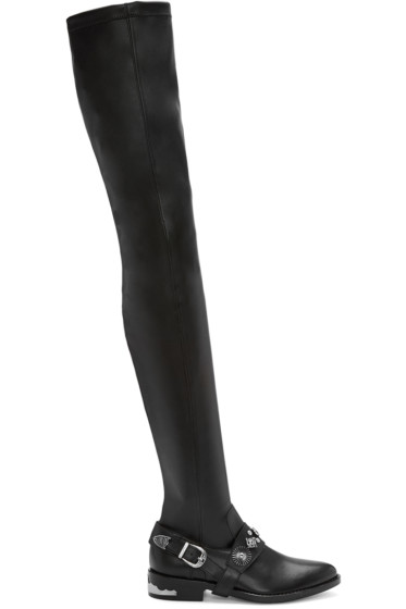 Toga Pulla - Black Western Detail Over-the-Knee Boots