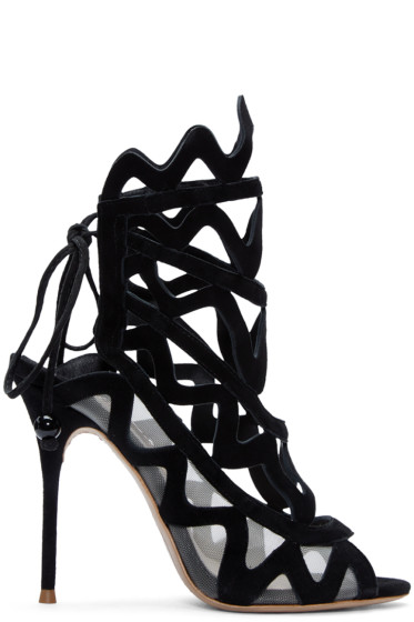 Sophia Webster - Black Suede Mila Cage Sandals