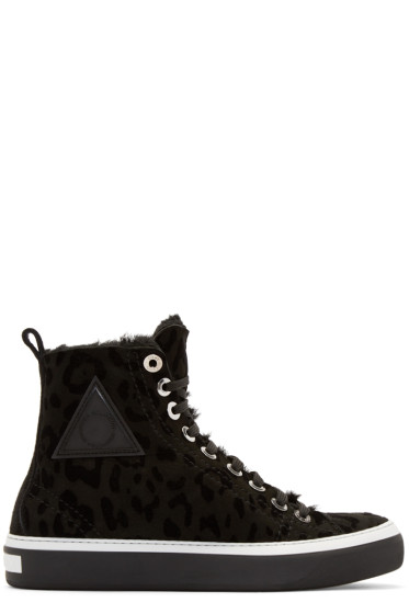 Jimmy Choo - Black Leopard Boris High-Top Sneakers
