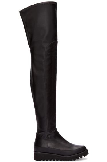Marcelo Burlon County of Milan - Black Leather Over-The-Knee Boots