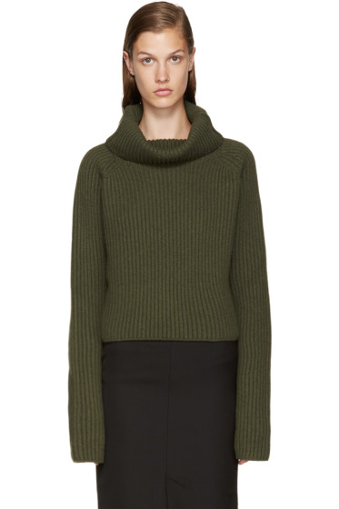 Haider Ackermann - Green Cropped Turtleneck