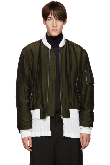 Haider Ackermann - Green Padded Bomber Jacket