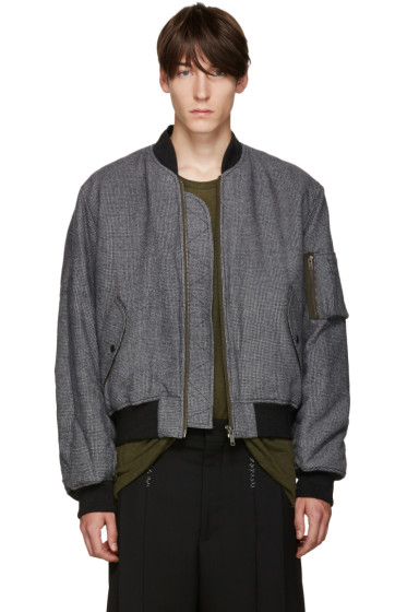 Haider Ackermann - Black & White Houndstooth Bomber Jacket