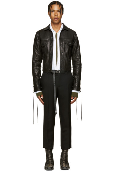 Haider Ackermann - Black Leather Lace-Up Jacket