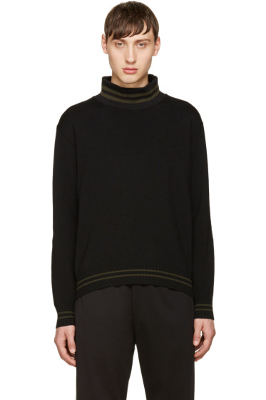 Giuliano Fujiwara - Black Merino Striped Sweater