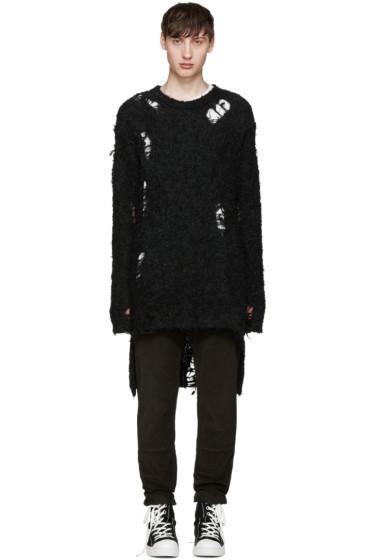 Miharayasuhiro - Black Alpaca Distressed Sweater