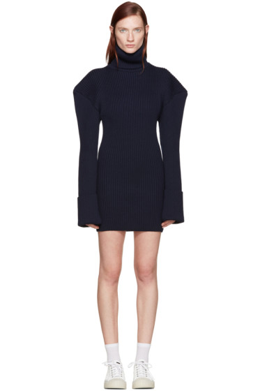 Jacquemus - Navy Giant Shoulder Dress