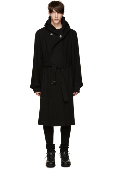 Yohji Yamamoto - Black Wool Belted Hooded Coat