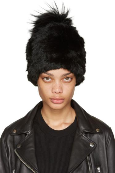 Yves Salomon - Black Knit Fur Beanie