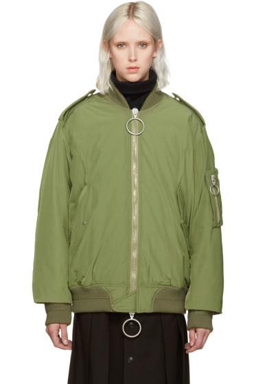Off-White - Green Nylon Bomber Jacket