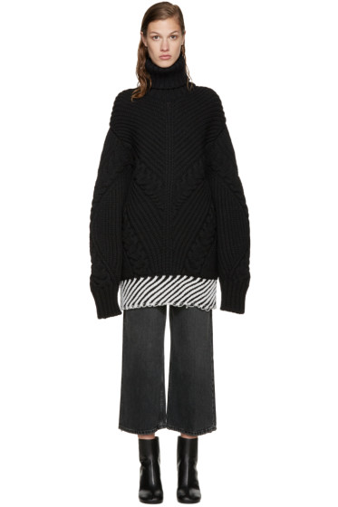 Off-White - Black Cableknit Turtleneck