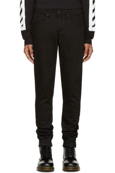 Off-White - Black Brushed Diagonals Jeans