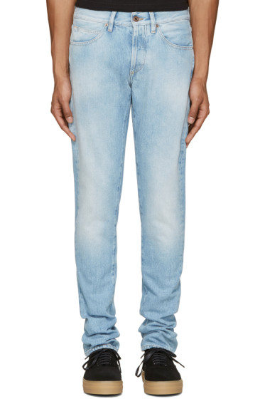Off-White - Blue Brushed Diagonals Jeans