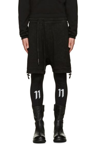 11 by Boris Bidjan Saberi - Black Asymmetric Lounge Shorts