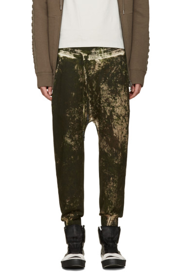 11 by Boris Bidjan Saberi - Green Camo Wash Sarouel Lounge Pants