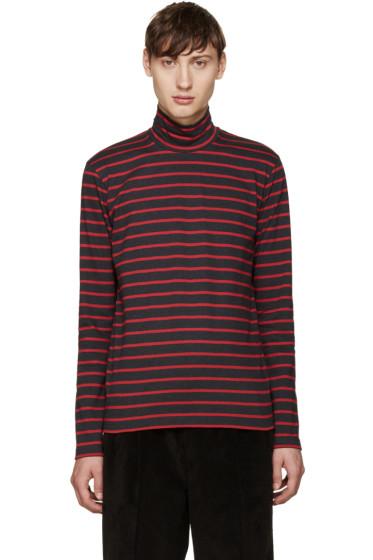 Johnlawrencesullivan - Grey & Red Striped Turtleneck