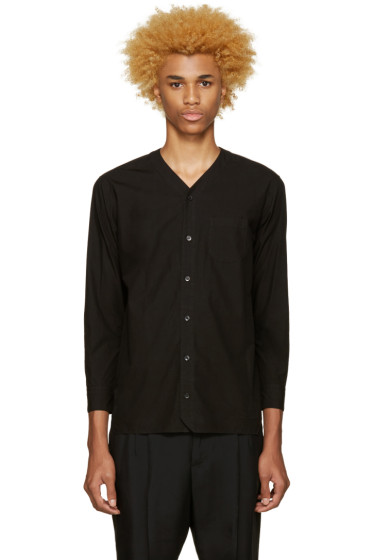 Undecorated Man - Black Poplin V-Collar Shirt