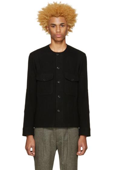 Lemaire - Black Collarless Wool Shirt