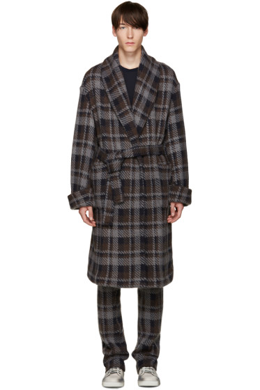 Fendi - Grey Check Belted Runway Coat