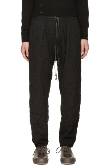 Attachment - Black Wrinkled Pinstripe Trousers