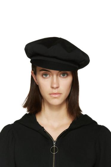 Y's - Black Wool Newsboy Cap