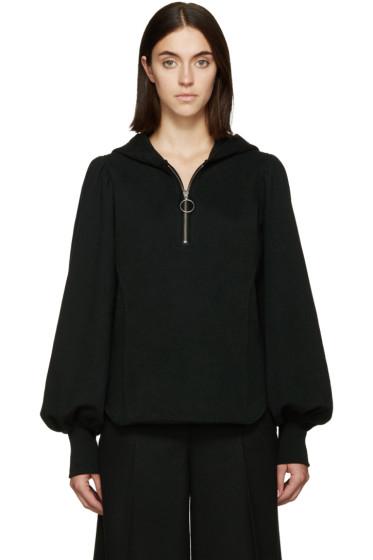 Y's - Black Gathered Sleeves Hoodie