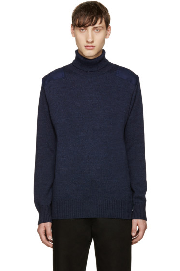 Blue Blue Japan - Indigo Shoulder Patch Turtleneck