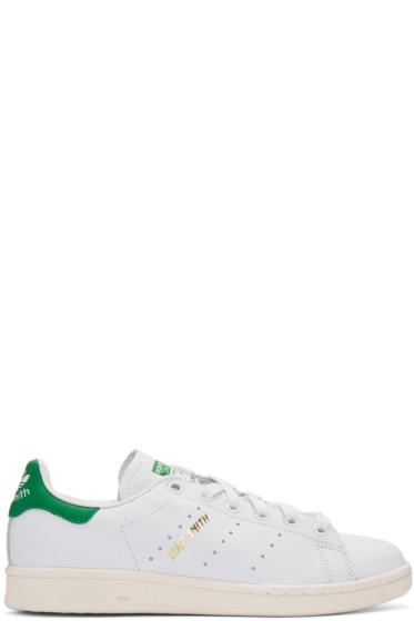 adidas Originals -  White & Green Stan Smith Sneakers