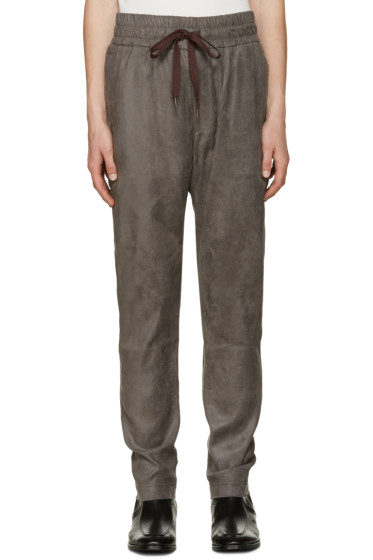 CMMN SWDN - Grey Faux-Suede Stray Trousers