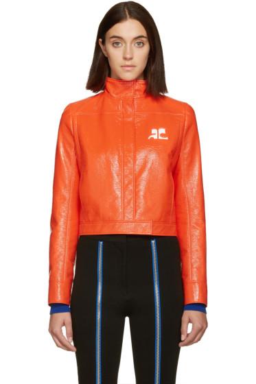 Courrèges - Orange Glossy Logo Jacket