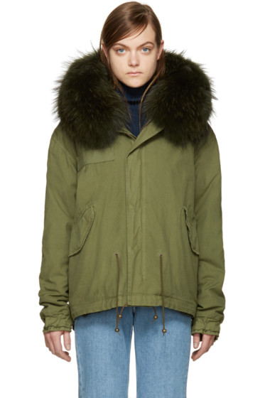 Mr & Mrs Italy - Green Rabbit Fur-Lined Mini Parka