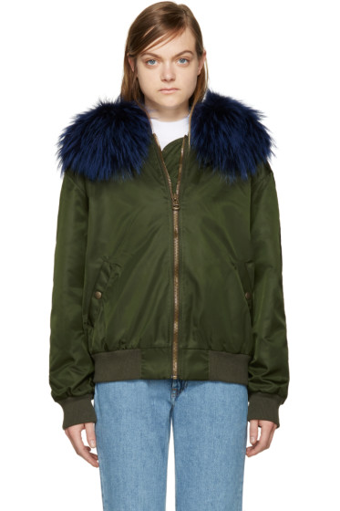 Mr & Mrs Italy - Green Fur Collar Bomber Jacket