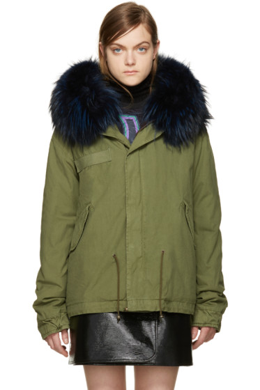 Mr & Mrs Italy - Green Fur Collar Mini Parka