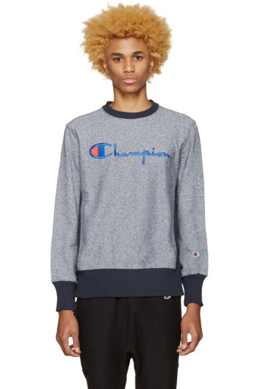 Champion Reverse Weave - Navy Speckled Logo Pullover