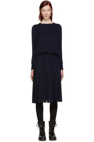 Harikae  - Navy Knit Pleated Dress