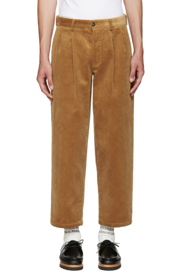 Noah - Tan Corduroy Pleated Trousers