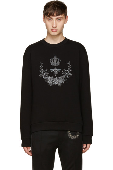 Dolce & Gabbana - Black Embroidered Bee Pullover
