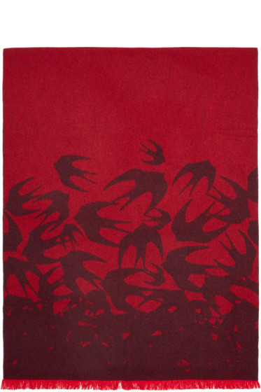 McQ Alexander Mcqueen - Red Wool Swallow Scarf