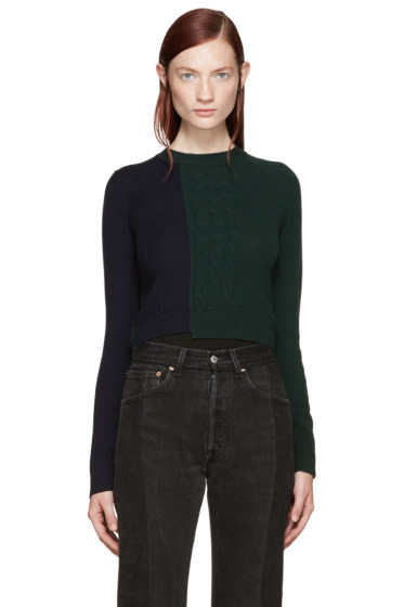 Maison Margiela - Navy & Green Knit Bodysuit