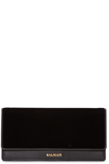 Balmain - Black Leather & Velvet Clutch