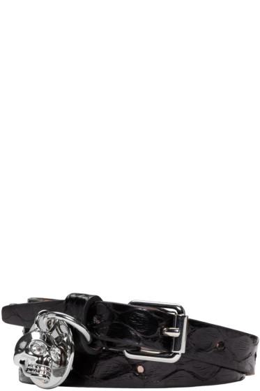 Alexander McQueen - Black Snake-Embossed Double Wrap Bracelet
