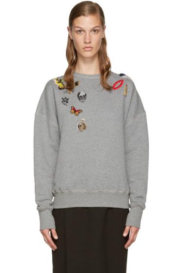 Alexander McQueen - Grey Embroidered Pullover