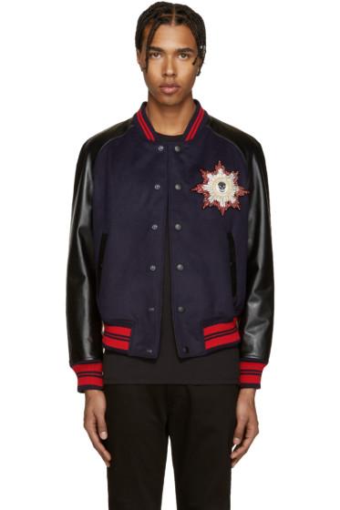 Alexander McQueen - Navy & Black Wool Felt Bomber Jacket