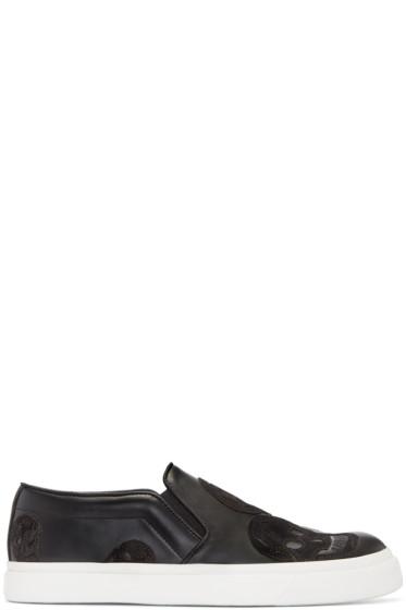 Alexander McQueen - Black Skull Slip-On Sneakers