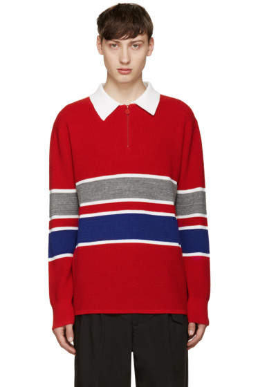 Opening Ceremony - Red Waffle Zip Polo