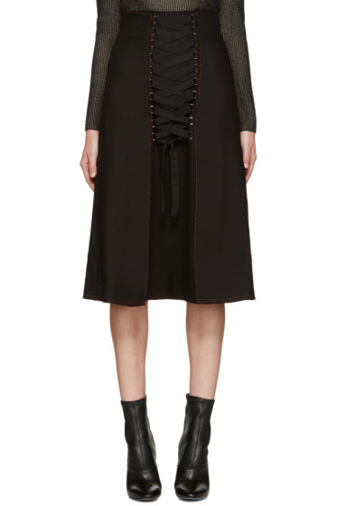 Proenza Schouler - Black Lace-Up Skirt