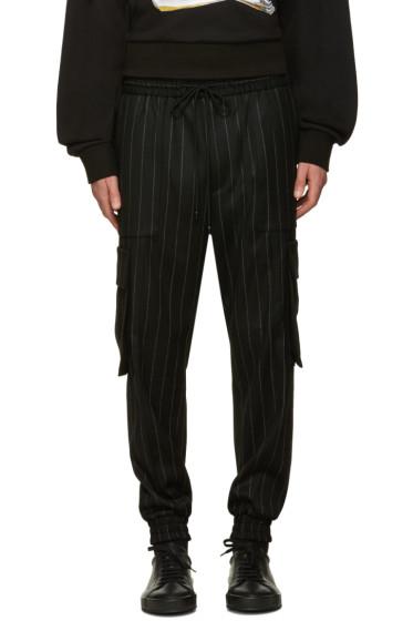 Juun.J - Black Pinstripe Cargo Trousers