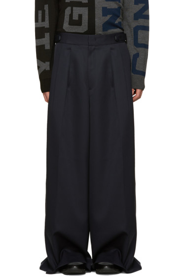 Juun.J - Navy Wool Wide-Leg Trousers