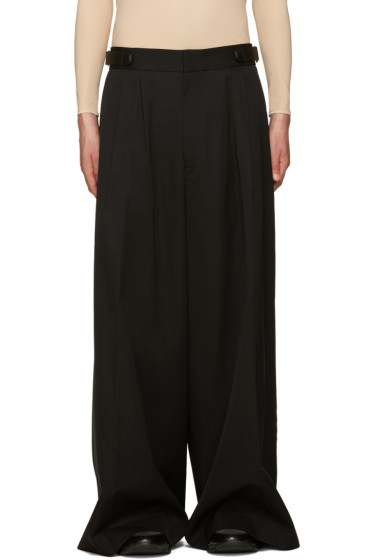 Juun.J - Black Wool Wide-Leg Trousers